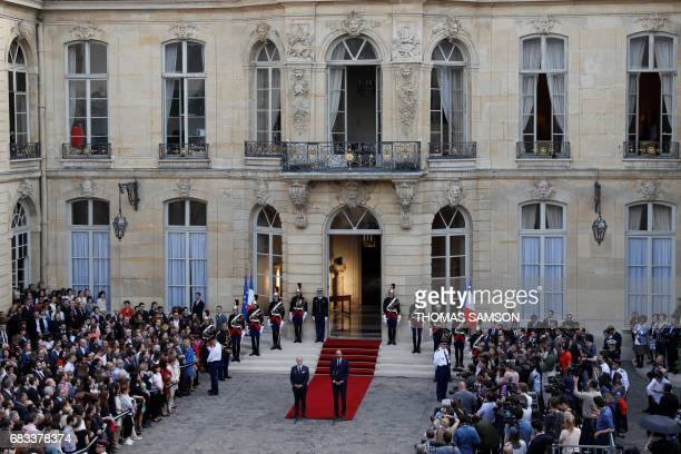 French newly appointed Prime Minister Edouard Philippe speaks during an official handover ceremony with his predecessor Bernard Cazeneuve at the...
