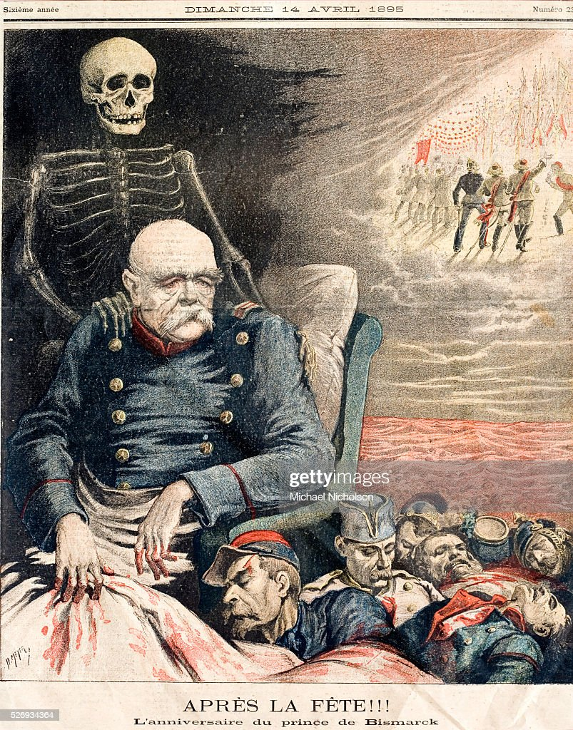 French newspaper picture of 1895 'After the Party The birthday of Prince von Bismarck' The skeletal figure of Death lays his hand on an elderly...