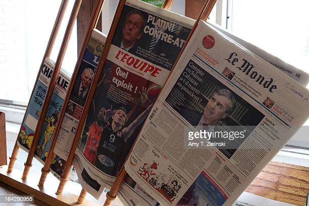 French newspapers are displayed to borrow from the library during 'It's All About Piano' festival at The Institut Francais on March 22 2013 in London...