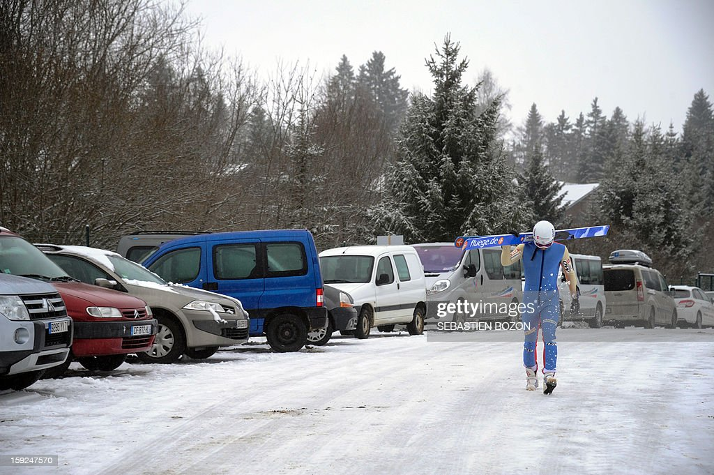 French Nordic Combined champion Jason Lamy-Chappuis arrives for a training session on January 10, 2013 at the international ski jumping facility of Chaux-Neuve, eastern France.