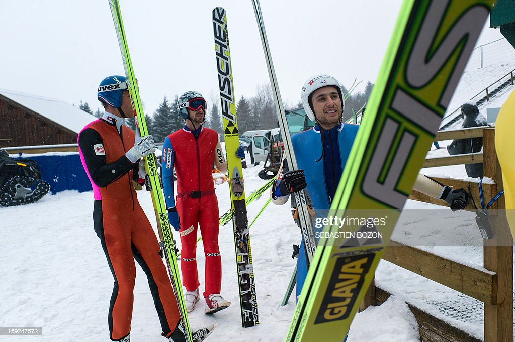 French Nordic Combined champion Jason Lamy-Chappuis (R) arrives for a training session on January 10, 2013 at the international ski jumping facility of Chaux-Neuve, eastern France.