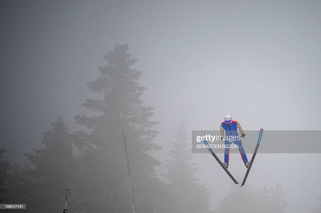 French Nordic Combined champion Jason Lamy-Chappuis jumps during a training session on January 10, 2013 at the international ski jumping facility of Chaux-Neuve, eastern France.