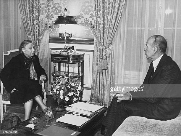 French novelist Marguerite Yourcenar meets French President Valery Giscard d'Estaing at the Elysee Palace in Paris 22nd December 1980 She is being...