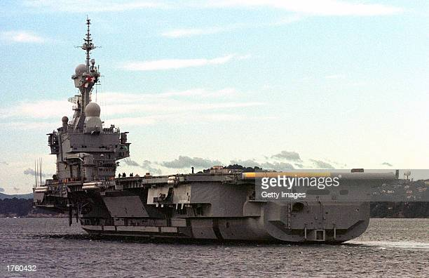 French nuclear aircraft carrier Charles De Gaulle leaves the naval base February 4 2003 in Toulon France The carrier will join the US's USS Truman...