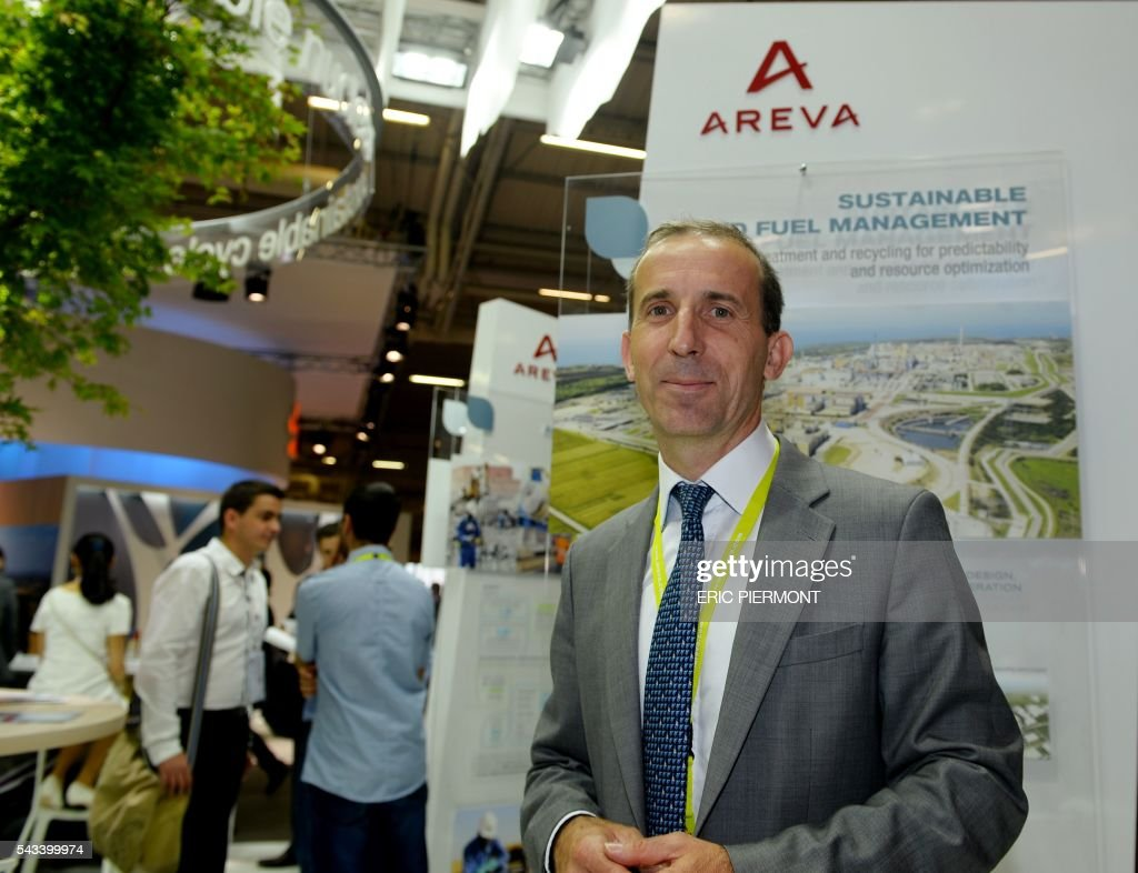 French nuclear giant Areva's Chief Executive Officer, Philippe Knoche poses at the Areva stand during the World Nuclear Exhibition in Le Bourget, near Paris on June 28, 2016. / AFP / ERIC