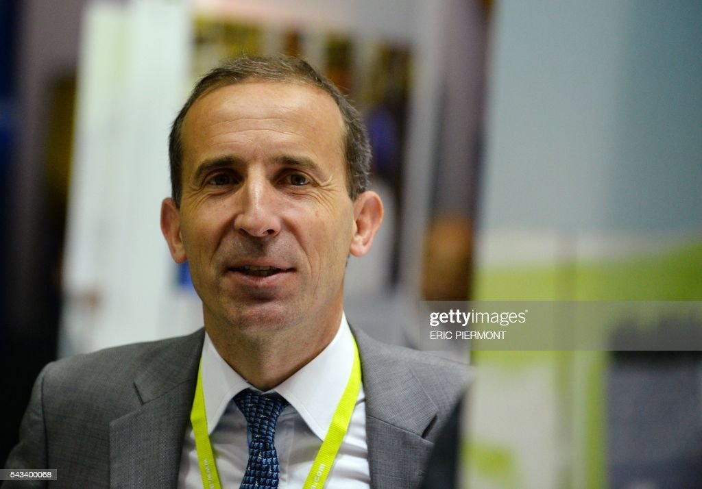 French nuclear giant Areva's Chief Executive Officer, Philippe Knoche, poses at the Areva stand during the World Nuclear Exhibition in Le Bourget, near Paris, on June 28, 2016. / AFP / ERIC