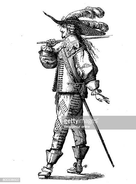 French officer in the year 1635 with long hair and a Henriquatre History of fashion costume story