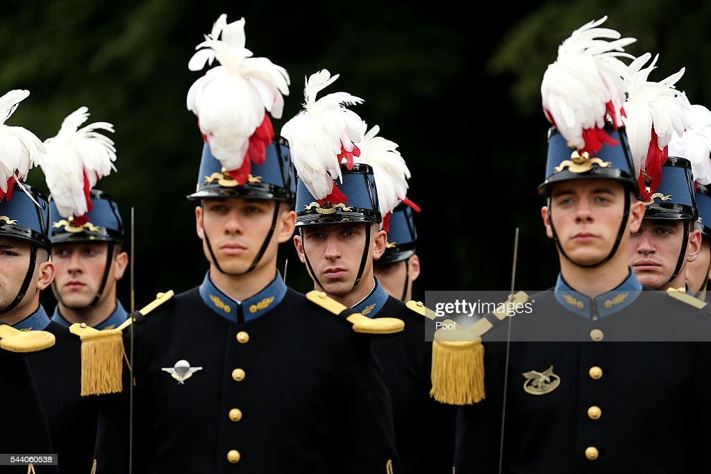 French officers in training from the Officers School of St Cyr stand during service to mark the 100th anniversary of the beginning of the Battle of the Somme at the Thiepval memorial to the Missing on July 1, 2016 in Thiepval, France. The event is part of the Commemoration of the Centenary of the Battle of the Somme at the Commonwealth War Graves Commission Thiepval Memorial in Thiepval, France, where 70,000 British and Commonwealth soldiers with no known grave are commemorated.