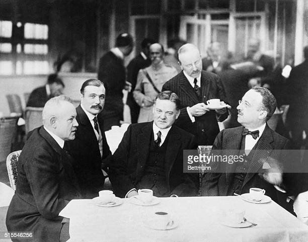 French officials meeting with Herbert HooverLeft to right Victor Dorer French Food Minister Ernest Vilgrain State Secretary for Food Herbert Hoover...