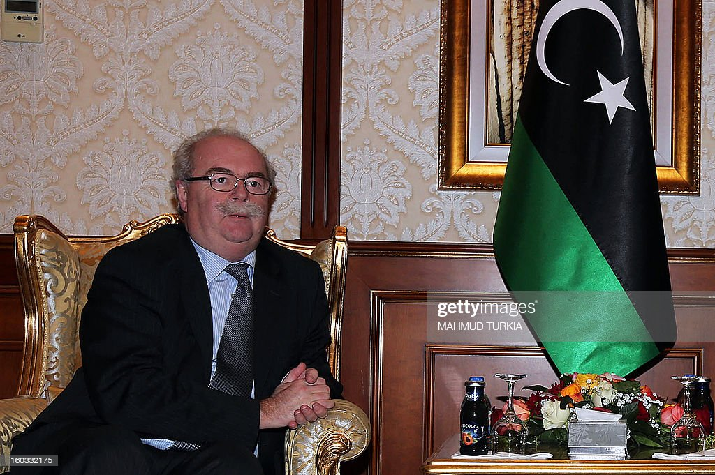 French Oil giant Total Chief Executive Officer Christophe de Margerie is portrayed during his meeting with Libyan General National Congress president Mohammed Megaryef (not in picture) at the Presidential guest house on January 29, 2013 in Tripoli.