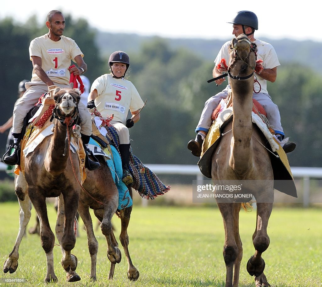 French Olivier Philipponneau (R), Franco-Moroccan Glif Nanir (L) and French Clotilde Wibaux ride camels during a French Cup of camel races on August 10, 2014 on the horserace track of La Chartre-sur-le-Loir, western France. Unusual in these latitudes, eight dromaderies that have never seen the desert, took part in two races of 1000 meters. AFP PHOTO / JEAN-FRANCOIS MONIER