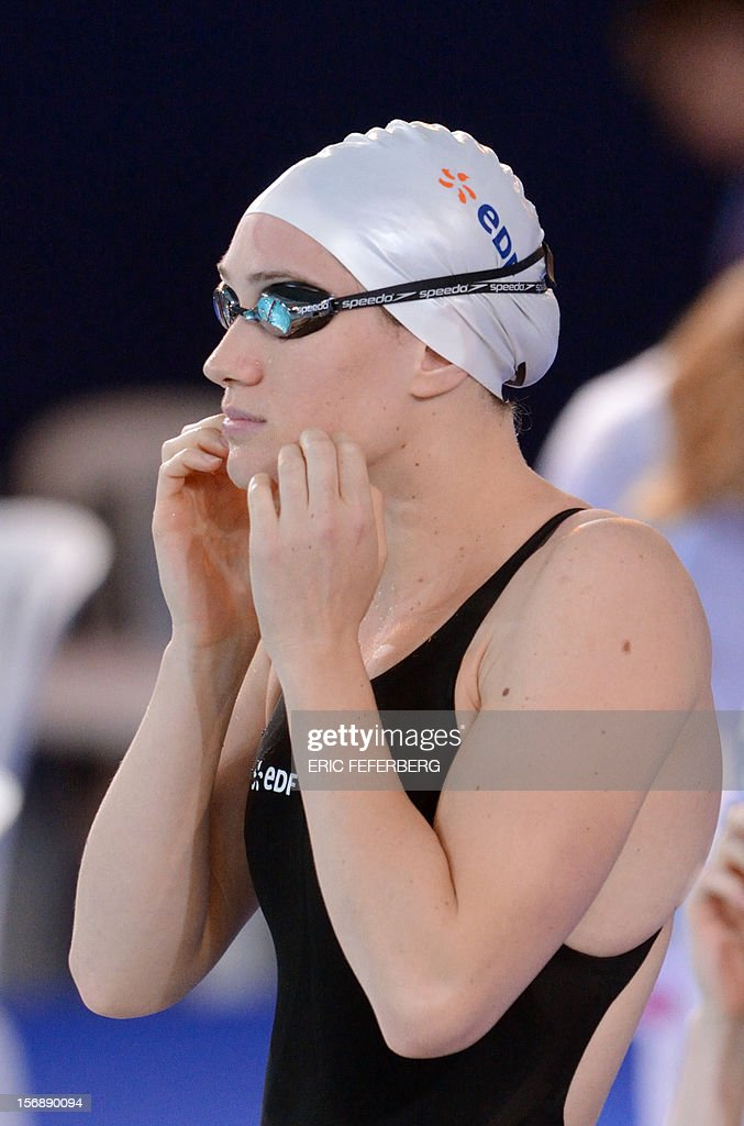 French Olympic champion Camille Muffat prepares on November 24, 2012 before the start of the women's 400m freestyle series at the European Swimming Championships in the central French city of Chartres. FEFERBERG