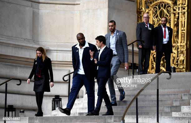 French Olympic Judo champion Teddy Riner Copresidents of the Paris bid for the 2024 Olympics Tony Estanguet and Utah Jazz's French centre Rudy Gobert...