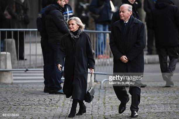 French Ombudsman Jacques Toubon and French member of Parliament Elisabeth Guigou arrive to attend the funeral ceremony of Francois Chereque a former...