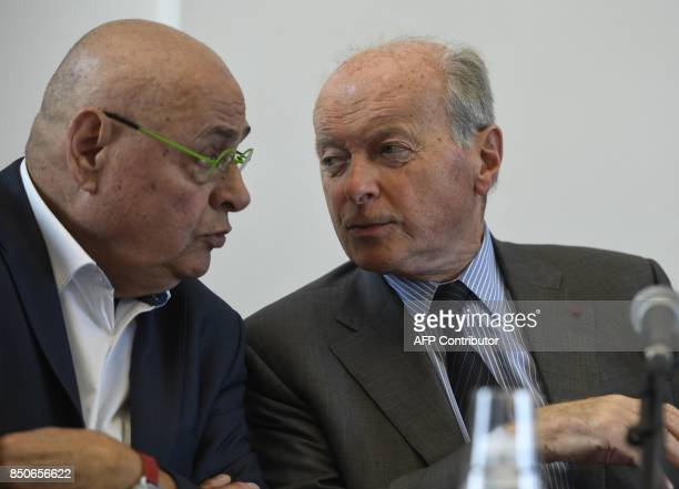 French Ombudsman Jacques Toubon and mayor of Villeurbanne JeanPaul Bret talk during a press conference about the results of a 'unprecedented' testing...