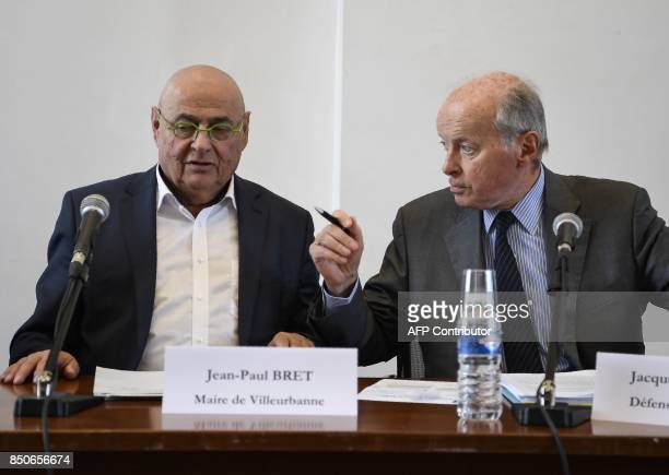 French Ombudsman Jacques Toubon and mayor of Villeurbanne JeanPaul Bret hold a press conference about the results of a 'unprecedented' testing on...