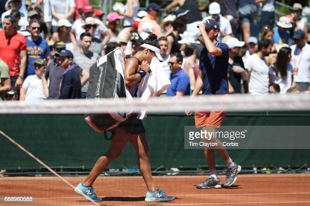 French Open Tennis Tournament A distraught Heather Watson of Great Britain leaves the court after her loss to Richel Hogenkamp of the Netherlands in...