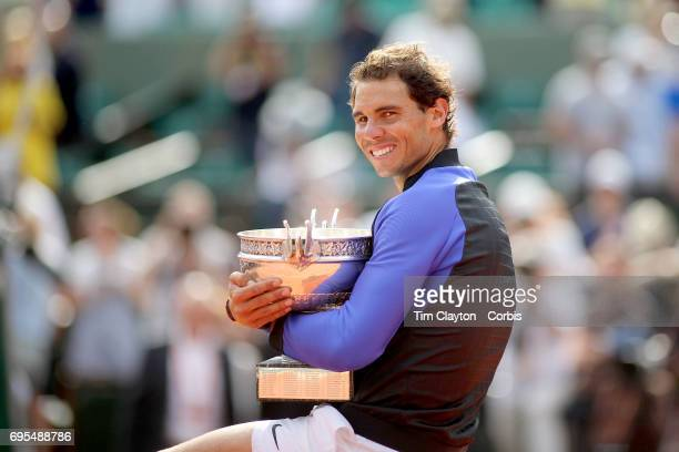 French Open Tennis Tournament Day Fifteen Rafael Nadal of Spain with the trophy after his win against Stan Wawrinka of Switzerland in the Men's...