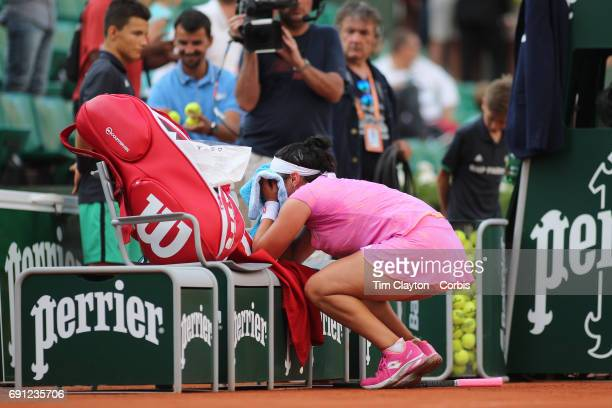 French Open Tennis Tournament Day Four Ons Jabeur of Tunisia celebrates her victory over Dominika Cibulkova of Slovakia in the Women's Singles second...