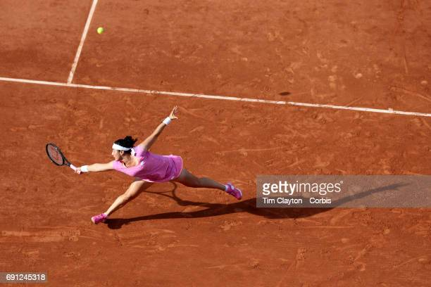 French Open Tennis Tournament Day Four Ons Jabeur of Tunisia in action during her victory over Dominika Cibulkova of Slovakia in the Women's Singles...