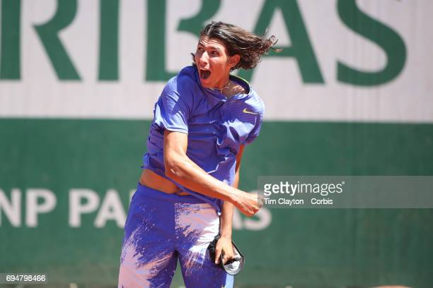 French Open Tennis Tournament Day Fourteen Alexei Popyrin of Australian celebrates after defeating Nicola Kuhn of Spain to win the Boy's Singles...