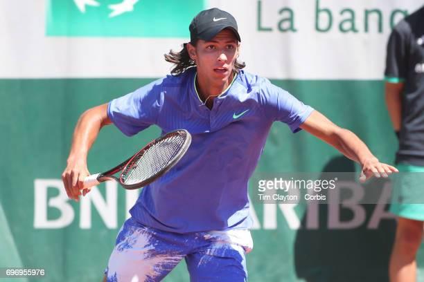 French Open Tennis Tournament Day Fourteen Alexei Popyrin of Australian defeating Nicola Kuhn of Spain to win the Boy's Singles Final match on Court...