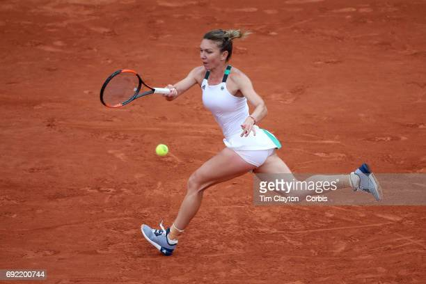French Open Tennis Tournament Day Seven Simona Halep of Romania in action against Daria Kasatkina of Russia during the Women's Singles round three...