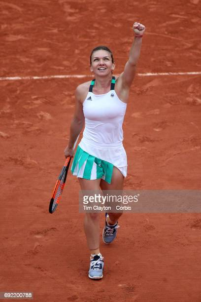 French Open Tennis Tournament Day Seven Simona Halep of Romania celebrates victory against Daria Kasatkina of Russia during the Women's Singles round...