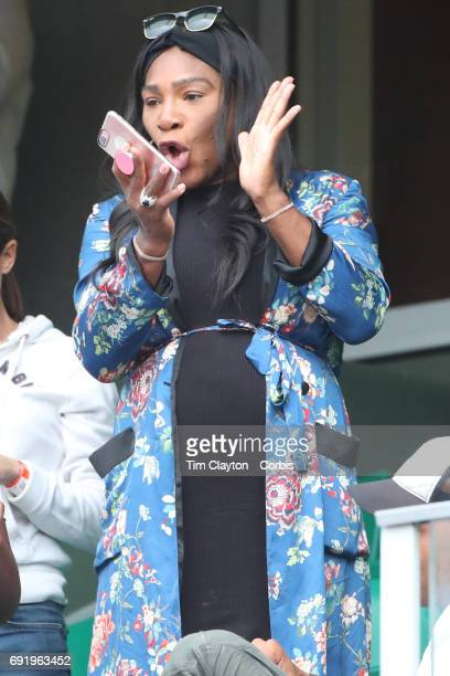 French Open Tennis Tournament Day Six Serena Williams applauds her sisters victory after Venus Williams of the United States win against Elise...