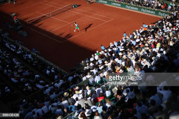 French Open Tennis Tournament Day Thirteen Dominic Thiem of Austria in action against Rafael Nadal of Spain in the Men's Singles Semi Final match on...