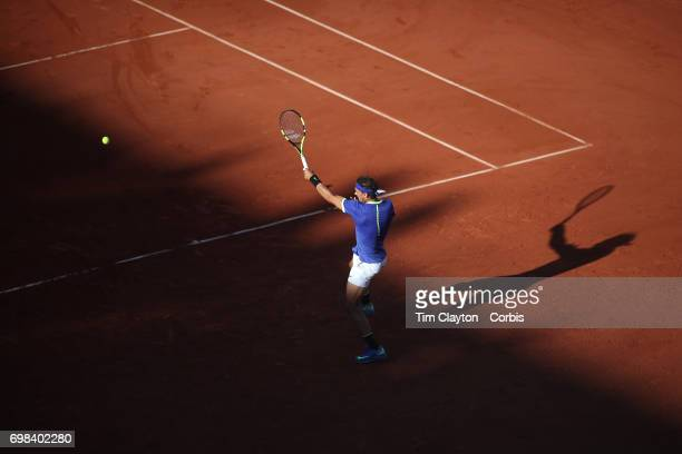 French Open Tennis Tournament Day Thirteen Rafael Nadal of Spain in action against Dominic Thiem of Austria in the Men's Singles Semi Final match on...