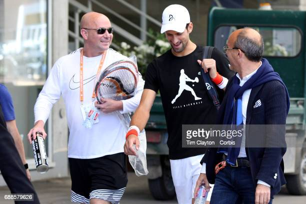 French Open Tennis Tournament Novak Djokovic of Serbia arriving for practice with new coach Andre Agassi in preparation for the 2017 French Open...