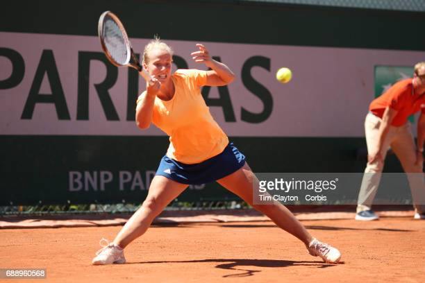 French Open Tennis Tournament Richel Hogenkamp of The Netherlands in action during her victory against Heather Watson of Great Britain in the...