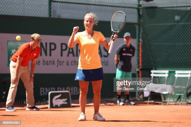 French Open Tennis Tournament Richel Hogenkamp of The Netherlands celebrates her victory against Heather Watson of Great Britain in the Qualifying...