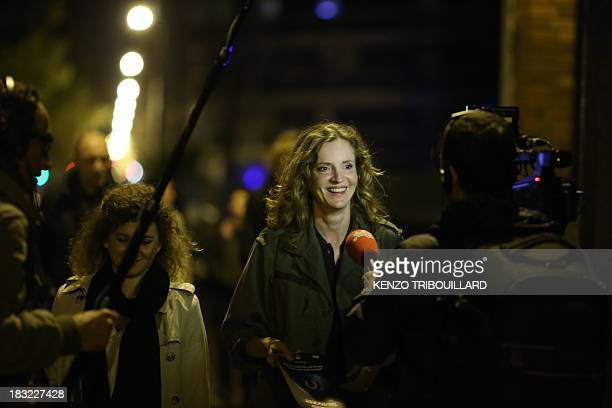 French opposition rightwing party UMP candidate for Paris 2014 Mayoral election Nathalie KosciuskoMorizet answers journalists questions in a street...