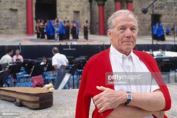 French orchestra conductor Georges Pretre for a presentation of 'Aida' at the Choregies D'Orange