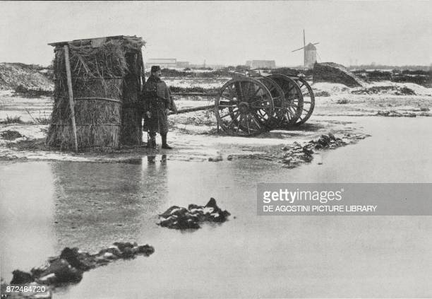 French outpost with sentinel in the flooded area of northern France World War I from L'Illustrazione Italiana Year XLII No 12 March 21 1915