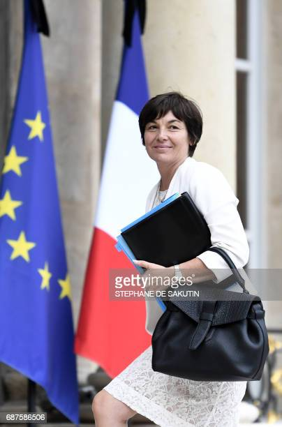 French Overseas Minister Annick Girardin arrives to attend the weekly cabinet meeting on May 24 2017 at the Elysee Palace in Paris / AFP PHOTO /...