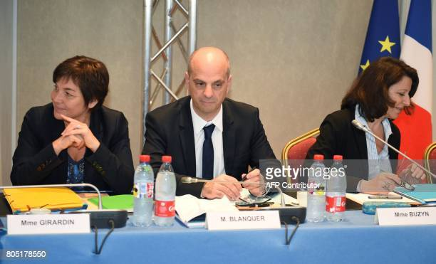 French Overseas Minister Annick Girardin French Education Minister JeanMichel Blanquer and French Minister for Solidarity and Health Agnes Buzyn take...