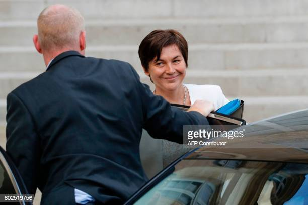 French Overseas Minister Annick Girardin leaves the Elysee Palace in Paris after the weekly cabinet meeting on June 28 2017 / AFP PHOTO / Patrick...