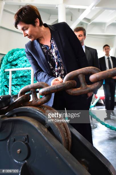 French Overseas Minister Annick Girardin looks at the anchor as she visits the Astrolabe a polar logistic ship which will sail along the French...