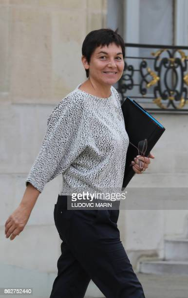 French Overseas Minister Annick Girardin looks on as she leaves a Council of Ministers at The Elysee Palace in Paris on October 18 2017 / AFP PHOTO /...