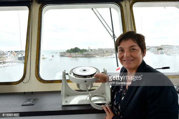 French Overseas Minister Annick Girardin poses at the crow's nest aboard the Astrolabe ship during the inauguration ceremony of the polar logistic...