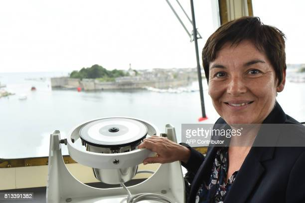 French Overseas Minister Annick Girardin poses next to the crow's nest as she visits the Astrolabe ship during the inauguration ceremony of the polar...