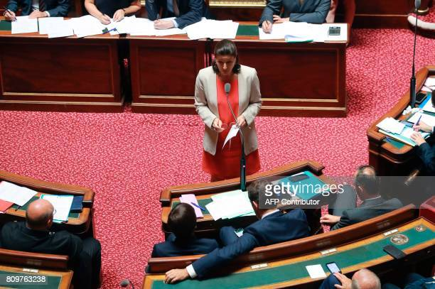 French Overseas Minister Annick Girardin speaks during a session of questions to the Government at the French Senate in Paris on July 6 2017 / AFP...