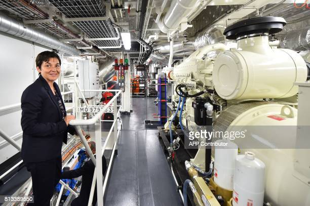French Overseas Minister Annick Girardin visits the Astrolabe ship during the inauguration ceremony of the polar logistic ship which will sail along...