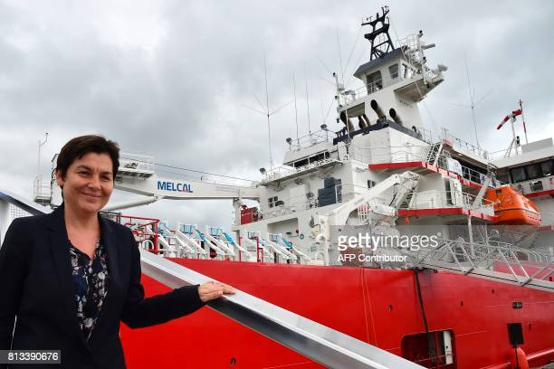 French Overseas Minister Annick Girardin visits the ship during the inauguration ceremony of the Astrolabe a polar logistic ship which will sail...