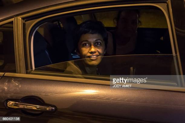 French Overseas Territories Minister Ericka Bareigts leaves after holding a joint press conference with the French Interior minister on March 29 2017...