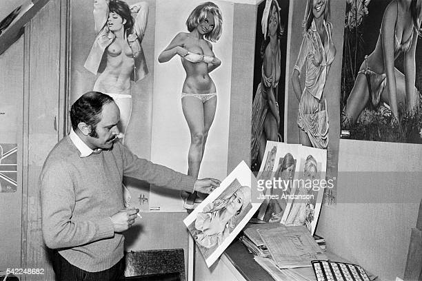 French painter and sculptor Aslan born Alain Gourdon with his pinup illustrations