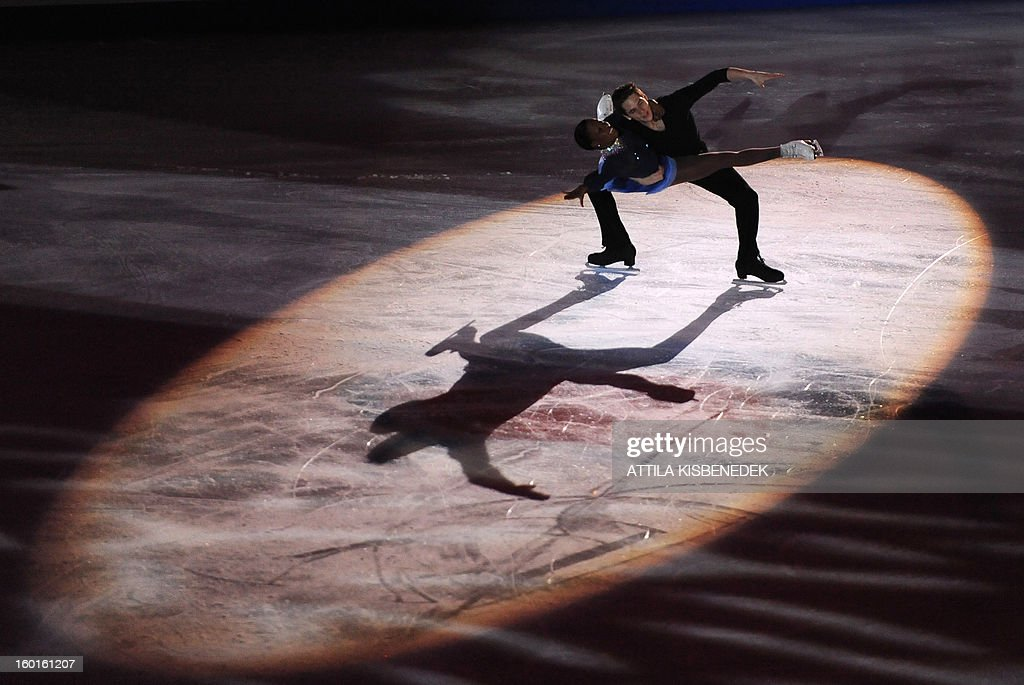 French pair Vanessa James and Morgan Cipres perform during the gala of the ISU European Figure Skating Championships at the Dom Sportova sports hall in Zagreb on January 27, 2013. AFP PHOTO / ATTILA KISBENEDEK